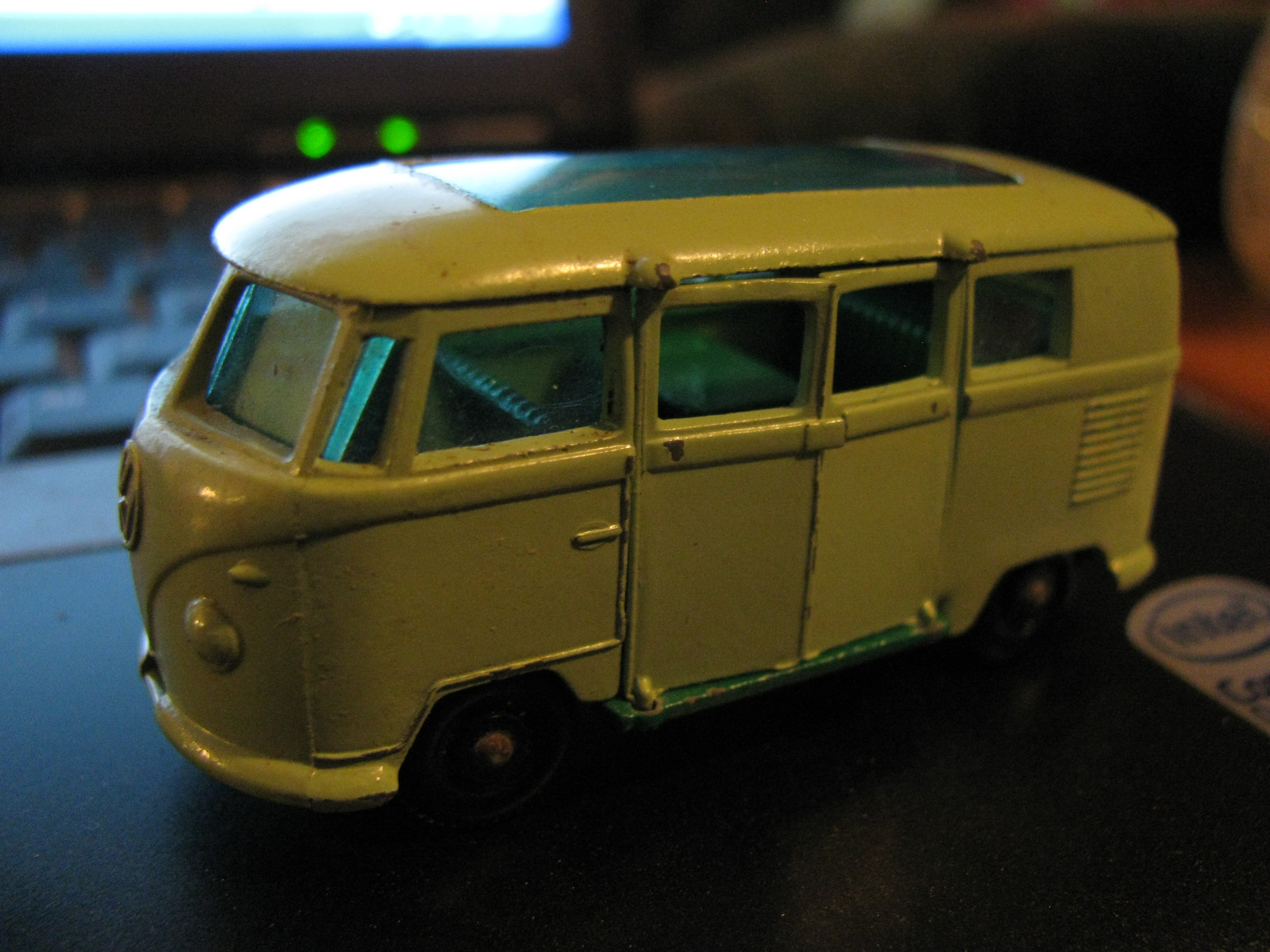 The bottom says it's a 1962 Volkswagen Caravette, made by Matchbox (Lindsey)